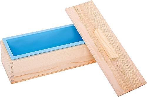 POFET Moule à savon rectangulaire flexible en silicone avec couvercles en bois pour savon fait maison de 600 ml