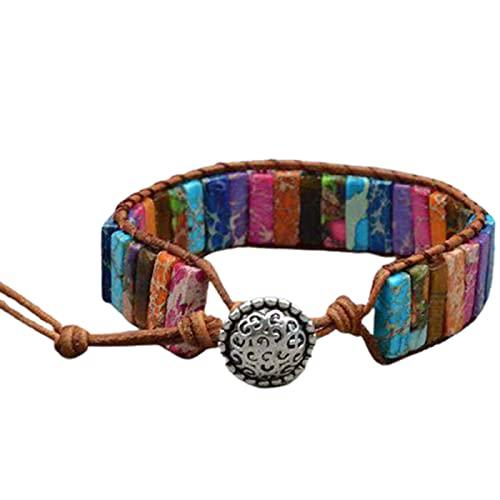 7 pulseras de chakras para mujer, hechas a mano, multicolor, cuentas de chakra, piedra bohemia, brazalete de cuero, colección de joyas de regalo