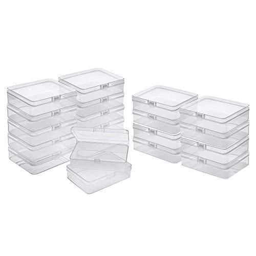 Mini Caja de Plástico Transparente, 20 Caja Pequeña con Tapa Abatible, Caja de Plástico Transparente Rectangular para Cuentas Pequeñas, Joyas y Otros Objetos Pequeños(68*51*25 mm)