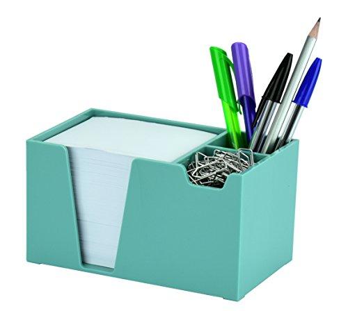 Acrimet Desktop Organizer Pencil Paper Clip Caddy Holder (Plastic) (with Paper) (Solid Green Color)