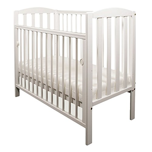 NEW WOOD LITTLE BABES TOBIE COT COMPACT MINI SPACE SAVER BABY BED (White)