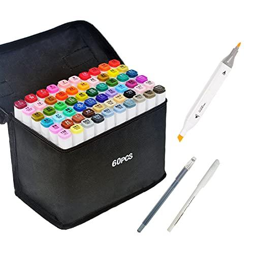 HanQix Farben Marker Stifte Grafitti 61 Farbige Twin Tip Textmarker für Studenten Manga Kunstler Sketch für Sketch Marker Pens Set Mit Aufbewahrungstasche (61 Farben)