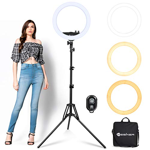 Ring Light with Tripod Stand Yesker 14 Inch LED Ringlight Kit with Phone Holder Adjustable Color Temperature Tiktok Circle Lighting for iPhone Camera for Vlog, Makeup, YouTube, Video Shooting