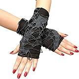Yunobi Guantes de Halloween sin dedos Punk Oscuro Guantes mendigos negros rasgados, accesorios de disfraz de fiesta de Halloween 1 par