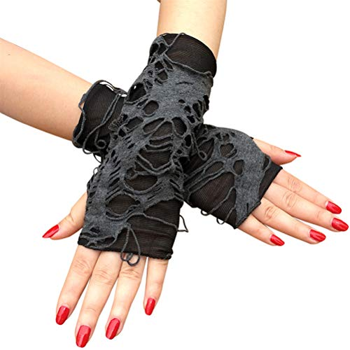Yunobi - Guantes de Halloween sin dedos punk oscuros para mendigos, guantes negros rasgados, para fiesta de Halloween, disfraz de Halloween, 1 par