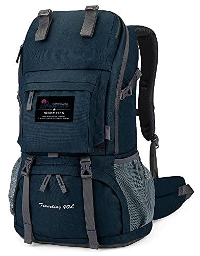 MOUNTAINTOP 40 litros Mochila de Senderismo, Impermeable Mochila Trekking al Aire Libre Mochilas de Montaña Viajes Acampadas con Cubierta de Lluvia(Azul 1)
