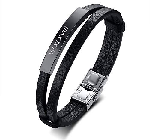PJ JEWELLERY Personalisierte Armbänder aus Edelstahl und echtem Leder 2-Lagen Custom Engravable ID Lederarmband für Herren, schwarz