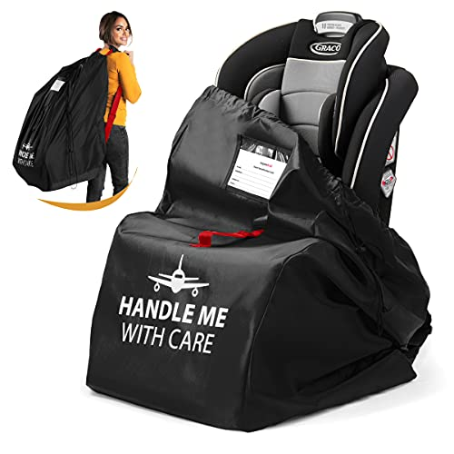 Car Seat Travel Bag for Air Travel Airplane Backpack Wheels Gate Check Bag Cover for Flight Check in (Black)