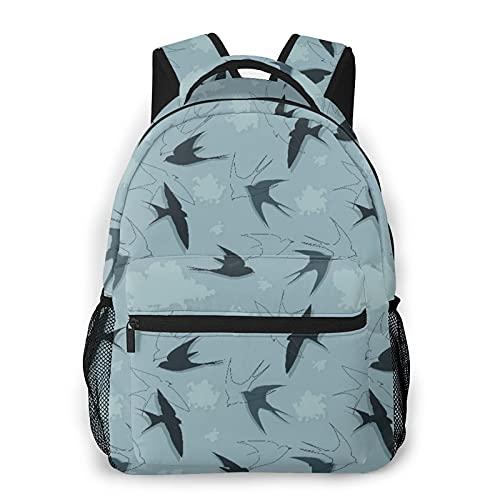 Zaino per adolescenti Uomo Donna Pacchetto portaoggetti,Uccello con rondini che volano tra le nuvo, Business Casual School Studenti Borsa da viaggio per laptop Daypack