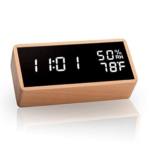 meross Sveglia Digitale LED Legno Orologio Allarme da Tavolo Comodino, Attivata Tramite Tocca e Audio, Vissualizza Temperatura e umidità, 3 Livelli di Luminosità, 12h/24h Commutabile