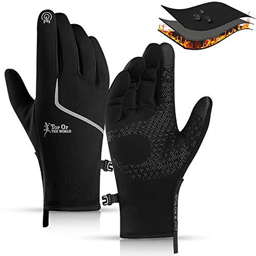 CXW Winter Fahrradhandschuhe Wasserdichter Touchscreen Warme Fahrrad Handschuhe für Männer & Frauen (Schwarz & Silber, M)