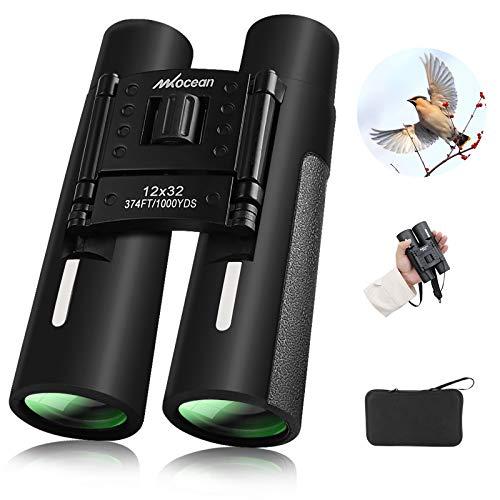 Binocolo Professionale Leggero Binoculare, 12 x 32 Portatile HD Binocolo Impermeabile con Tracolla/Borsa da Trasporto, BAK4 Prisma FMC Lens per Bird-Watching/Attività all'Aperto/Sport stadio/Concerti