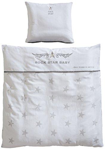 roba Wiegenbettwäsche 2-tlg, Wiegenset Kollektion 'Rock Star Baby 2', Baby Bettwäsche 80x80 (Decke & Kissen), 100% Baumwolle