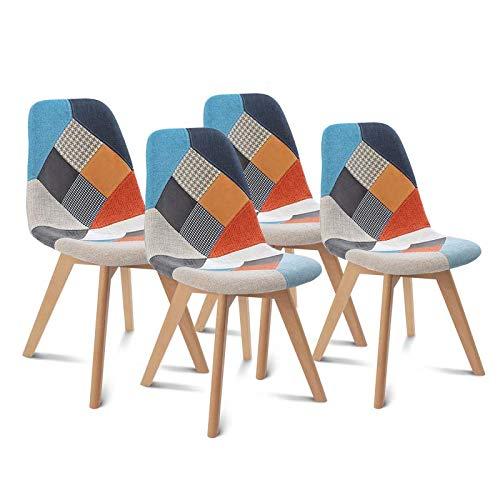 IDMarket - Lot de 4 chaises SARA Motifs patchworks Multi-Couleurs