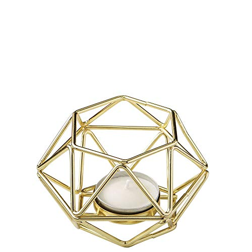 "FASHIONCRAFT 8748-2 Gold-Tone Geometric Hexagon Tealight Candle Holders, Candle Wedding Favor, Candle Centerpiece, 4"" Candle Décor – Set of 2"