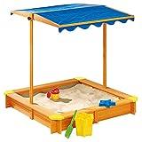 JFF Sandbox con Tetto Regolabile - 118 X 118 X 118 Cm, Sandbox per Bambini Grande in Legno per Cortile, Giochi All'aperto/Abete Cinese