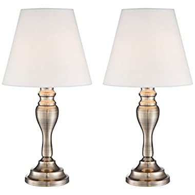 Set of 2 Brass Finish 19 1/4  High Touch On-Off Table Lamps