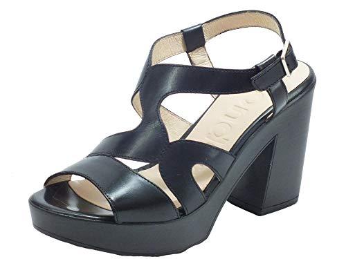 Wonders L-9162 Pergamino Negro - Sandalias para mujer de piel con tacón alto y plataforma negra Negro Size: 40 EU