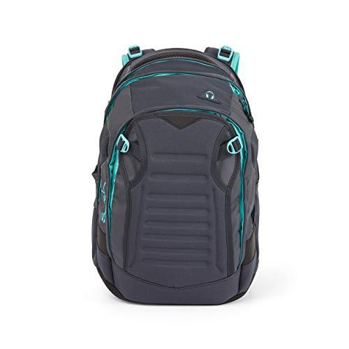 Satch match Schulrucksack - ergonomisch, erweiterbar auf 35 Liter, extra Fronttasche - Mint Phantom - Grau