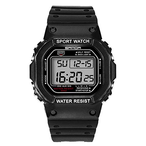 SUYANG Reloj Electrónico Reloj Digital Reloj Impermeable Reloj De Moda Reloj Electrónico Impermeable Pantalla Digital Reloj De Pulsera (Negro Blanco)