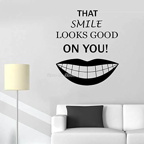 Das Lächeln Sieht gut auf Ihnen Wandtattoo Aufkleber Zahnarzt Büro Wandaufkleber Art Deco Poster 42x50cm