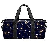 Zodiac Constellations Set Ilustración Sports Gym Bag Bolsa de viaje cilíndrica con bolsillo mojado, bolsa de entrenamiento ligera con correa para el hombro para hombres y mujeres