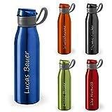 polar-effekt Botella de agua personalizada con nombre, 650 ml, color azul real, antigoteo, de aluminio, grabado con láser. Idea de regalo para niños, escuela, deportes, exteriores, fitness, camping