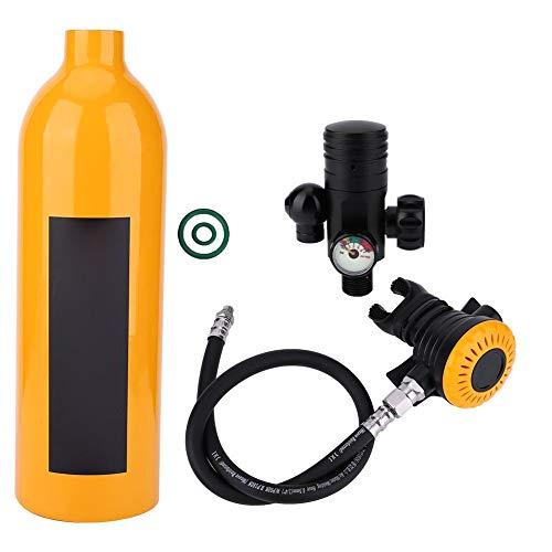Equipo de Buceo, Mini Cilindro de Buceo con Gran Capacidad de 15 a 20 Minutos, Tanque de Oxígeno Portátil Respirador Subacuático, Capacidad de 1 Litro con Diseño Recargable(naranja)