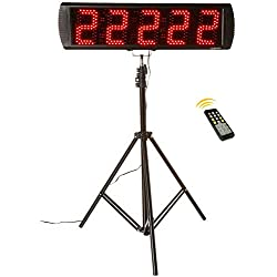 GAN XIN Portable 5'' High 5 Digits LED Race Clock with Tripod for Running Events, Countdown/up Digital RaceTimer, by Remote Control
