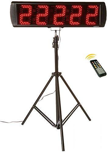 GANXIN LED-Stoppuhr für Wettbewerbe, 5 Ziffern, 13 cm große Ziffern, mit Stativ, Herunter-/Hochzählfunktion, mit Fernbedienung, 24-Stunden-Anzeige, Rot