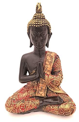 G.W. Buddha-Figur betend sitzend, 21 cm in schwarz Gold, Deko-Artikel für Wohnung & Haus, Buddha-Skulptur, Wohnaccessoire