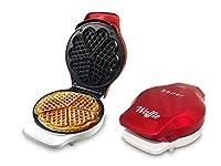 Beper - Piastra per Waffle, Cialdiera, 5 Waffle Alla Volta, Piastra Antiaderente 18cm, 800-100W - Rosso/Bianco