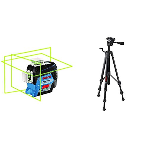 BOSCH GLL3-330CG 360-Degree Green Beam Three-Plane Leveling and Alignment-Line Laser & Bosch BT150 Compact Extendable Tripod with Adjustable Legs BT 150