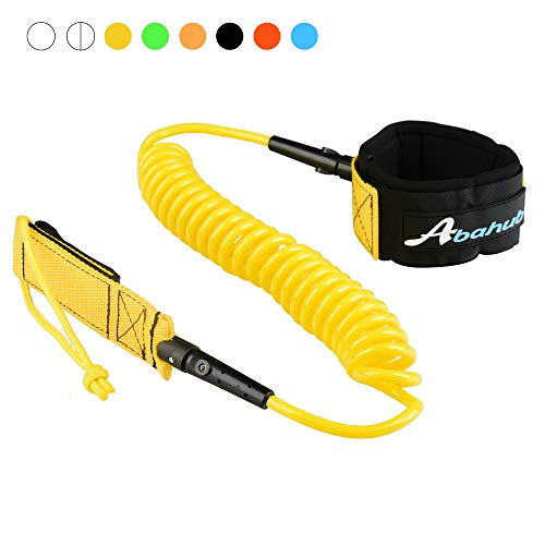 Abahub Premium Coiled SUP Leash, Stand-up Paddleboard Legrope, 10 feet Yellow 7 mm Thick for Surfboard, Skimboard, Boogie Board