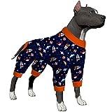 LovinPet Pitbull Pajamas/Lightweight Pullover Pajamas/Full Coverage Dog Pjs with Black Trim/Cuddle Space Craft Navy Prints/Lightweight Big Dogs Pullover, Full Coverage Large Breed Dog Pjs