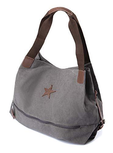 Brakumi Vintage Tasche, große Kapazität, im Outlet, wirtschaftlich, Arbeit, Reisen, Mädchen, Einkaufen, in weichem Stoff. (grigio)