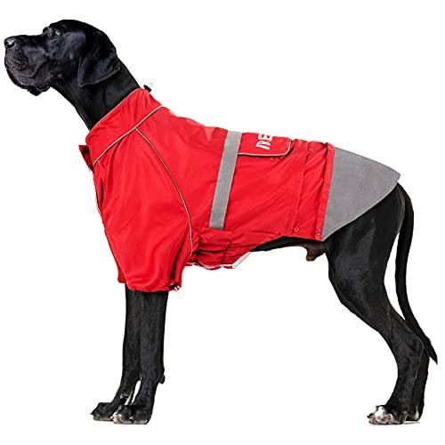 Impermeable para Perro IREENUO, Chaqueta para Abrigo Mediano Grande Impermeable con Tiras Reflectantes y Ajustable a Prueba de Viento al Aire Libre Rojo 3XL