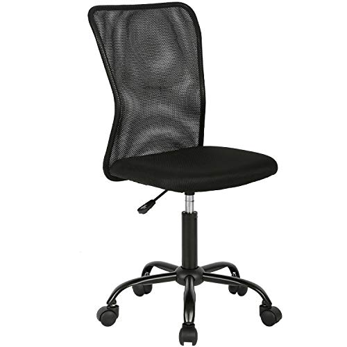 non rolling office chairs Vnewone Desk Executive Task Rolling Swivel Chair with Wheels Armless Lumbar Support Small Modern Adjustable Mid Back for Home Women, Men, Black