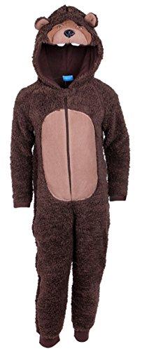 Jungen BRAUN Bär Pyjama Schlafanzug / Overall / Kostüm / Onesie (3 Jahre 98 cm)