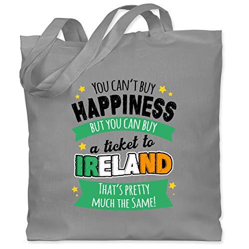 St. Patricks Day - A ticket to Ireland - schwarz - Unisize - Hellgrau - Statement - WM101 - Stoffbeutel aus Baumwolle Jutebeutel lange Henkel
