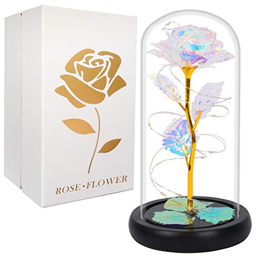 Gift for Mom Artificial Colorful Flower Rose Gift Led Light on Galaxy Rose in Glass Dome Best Gifts for Mother Day Women Valentine's Day Christmas Wedding Anniversary Birthday