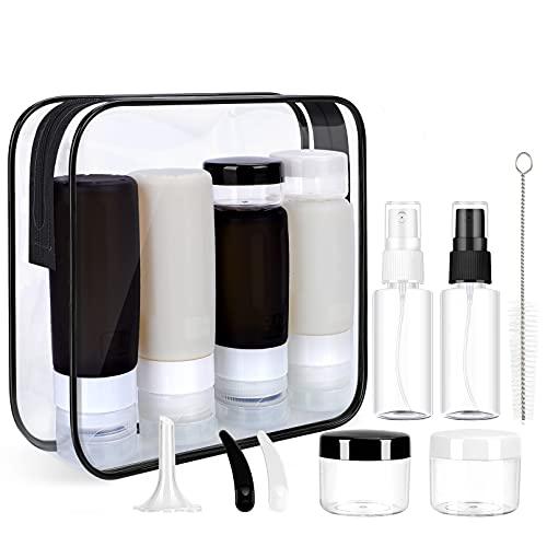 Morfone Reiseflaschen Zum BefüLlen,16-Teiligesreiseset,mit Kulturbeutel,Auslaufsicher NachfüLlbar TSA-Zugelassene Silikon Reiseflaschen,Verwendet für Shampoo Lotion SpüLung Duschgel [FDA] [BPA-frei]