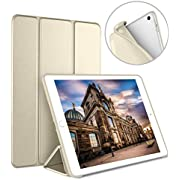Luvfun Case for iPad 9.7 2018/2017, Case for iPad 6th Generation/5th Generation Slim Lightweight Smart Cover for 2018/2017 iPad 9.7 5th / 6th Generation -Champagne gold