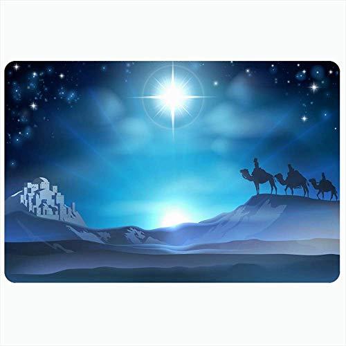 Badeteppich für Badezimmer Rutschfeste Matten Weihnachten 3 Baby Adventszene Geburtsstern Wüste Geboren Drei Reise Texturen Krippe Blau Feiertage Plüsch Dekor Fußmatte Rutschfeste Rückenmatte