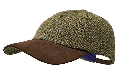 Borges & Scott La Sligo - Gorra de béisbol - 100% Lana - Tweed Irlandés - Visera de Cuero Nobuck - País Verde
