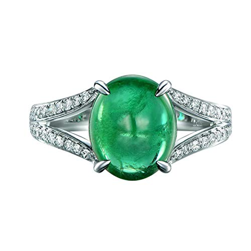 AueDsa Anillo Mujer Plata Verde Anillo Oro Blanco 18K de Mujer Oval con Esmeralda Verde 2.36ct y Diamante 0.18ct Talla 6,75-25