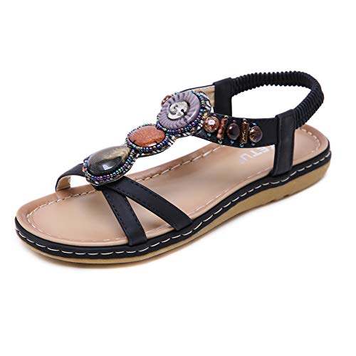 Comfort Bohemian Sandals T Strap Ultra Soft Flats Vintage Rhinestone Thong Sandals for Women Cushioned Slippers Black 40
