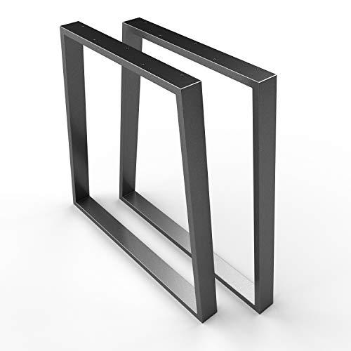 sossai® Trapezoide - Base de Mesa de Acero   TKG6   Color : antracita   2 Piezas   Ancho 70 cm (50 Trapecio) x Altura 70 cm   patas de mesa   carga pesada