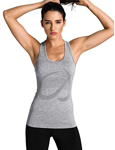 CRZ YOGA Seamless Workout Tank Tops for Women Racerback Athletic Running Gym Shirts Quick Dry Heather Grey M