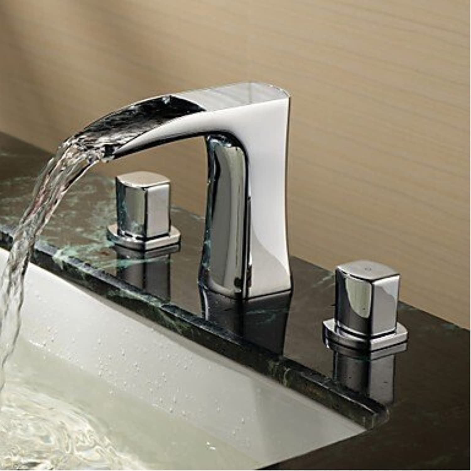 U-Enjoy Brass Sink Waterfall Top Quality Bathroom Faucet Handles Hot & Cold Mixer Water Tap Deck Mounted Chrome para (Free Shipping)